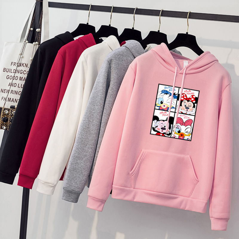 Women Hoodies Donald Duck Fleece Thick Long Sleeve Autumn Winter Hooded Big Size Pullover Sweatshirt   Cartoon Hoody