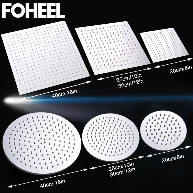 16/12/10/8/6 Inch Square Shower Head Round Polished Chrome Stainless Steel Bathroom Rainfall Shower Heads