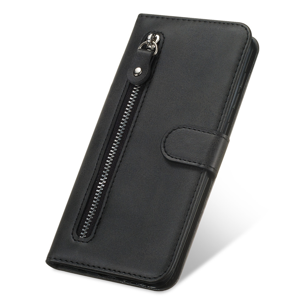 zipper Solid color Retro For <font><b>iPhone</b></font> 11 Pro XS Max XR <font><b>Leather</b></font> <font><b>Flip</b></font> <font><b>Case</b></font> For <font><b>iPhone</b></font> 6S <font><b>7</b></font> 8 6 Plus Card slot wallet Business <font><b>Case</b></font> image