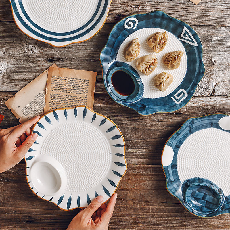 Dumpling plate with vinegar plate, ceramic Japanese sushi plate, cold dish, snack plate, creative partition plate, household