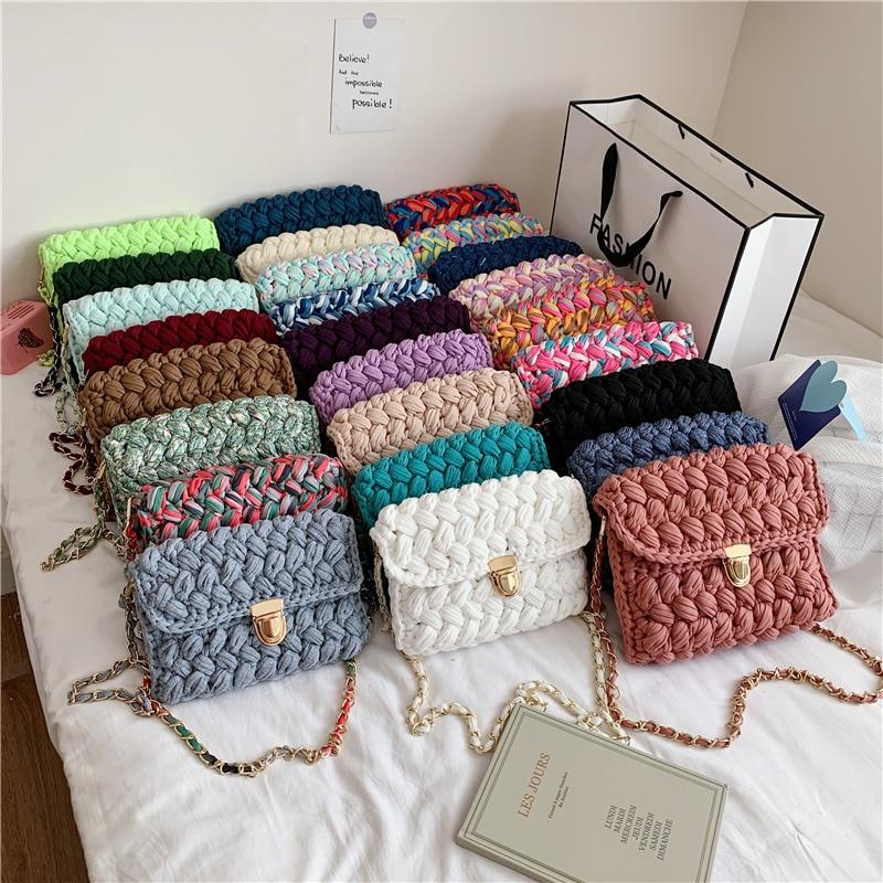 Сумки для женщин, ручная плетеная Сумка, женская сумка через плечо с полоской и крючком, сумка-клатч