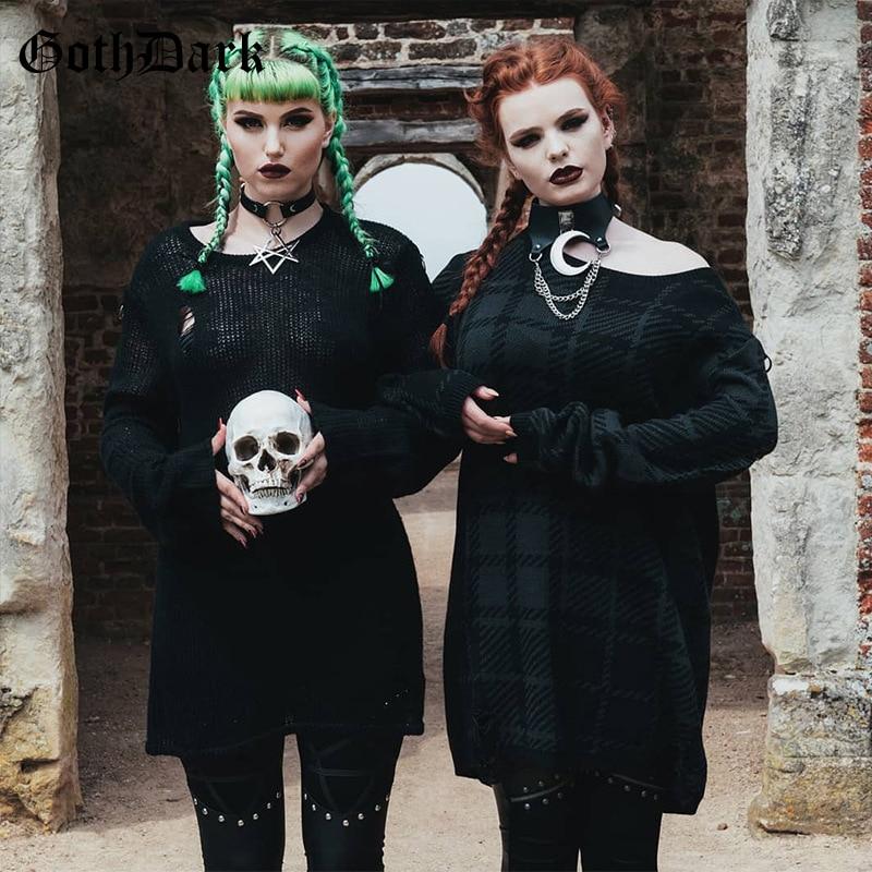 Goth Dark Sliver Moon Pendant PU Gothic Necklace Metal Chain Halter Patchwork 2019 Choker Necklaces Harajuku Punk Grunge Chic 1