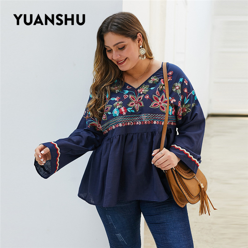 YUANSHU Cotton Linen Plus Size Women Blouse Embroidery Ruffles Long Sleeve Tops V Neck Oversized Ladies Tops XL-4XL Large Size