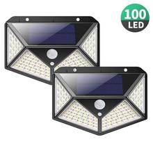 Уличная лампа на солнечной батарее, 100 светодиодов, водонепроницаесветильник, с датчиком движения