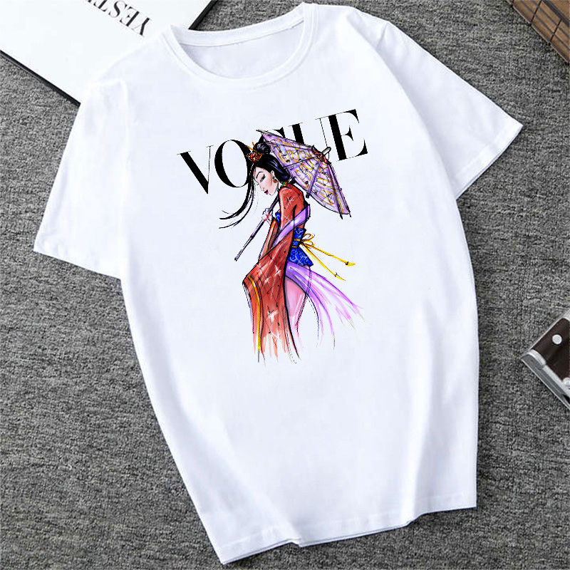 Womens Casual Summer Top Short Sleeve VOGUE Tee Shirt Femme Party Loose Harajuku Tumblr T Shrit Brand Fashion Dames Basic Blusas
