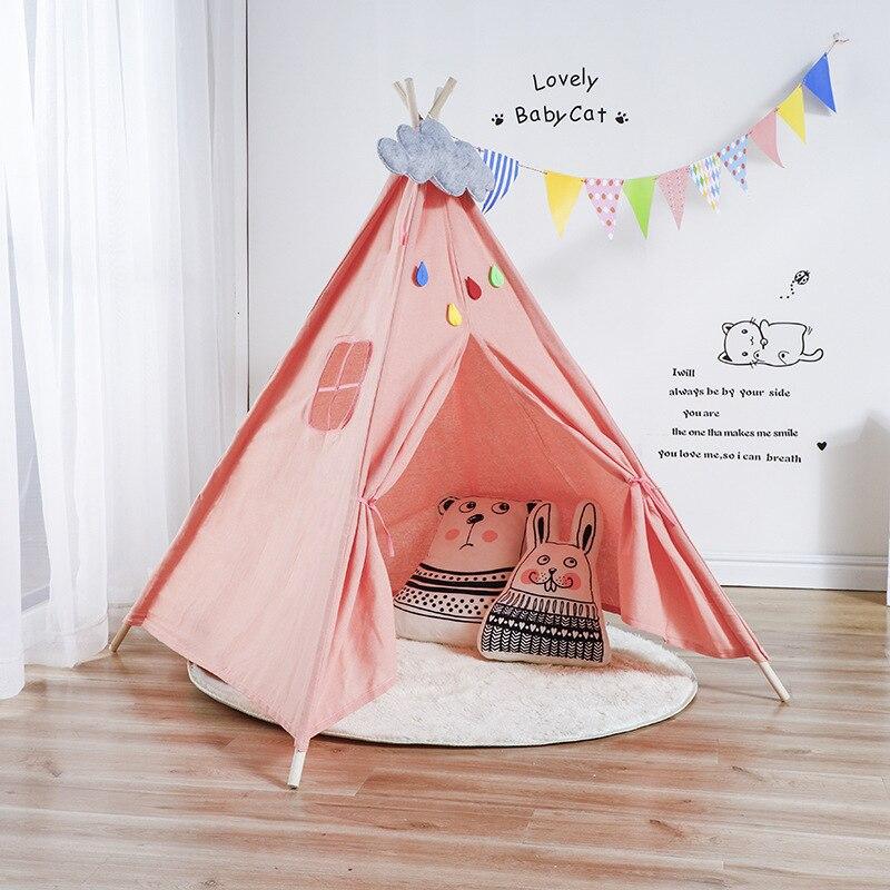 Estilo nórdico de madeira apoio tenda lona crianças bebê jogar casa tenda luz telhado tipi princesa quarto indiano tenda tenda crianças presente