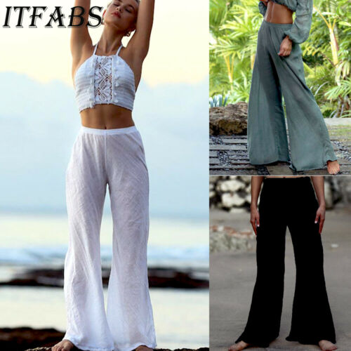 Plus Size Women Casual Linen Harem Pants Loose Baggy Wide Leg Long Trousers Summer Beach High Waist Loose Solid White Trouser