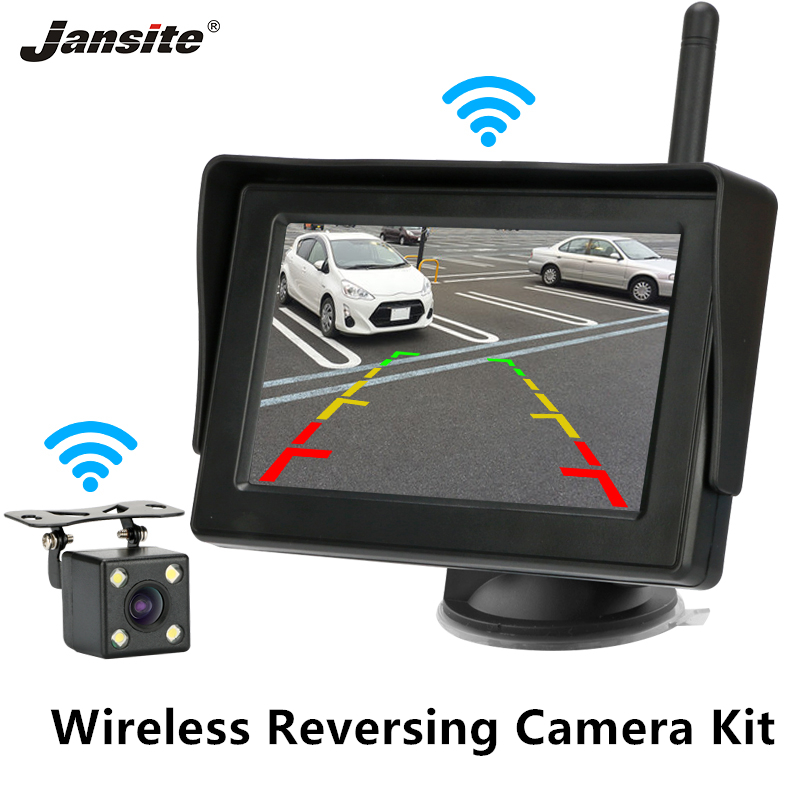 Jansite Wireless Backup Camera Monitor Kit Rear View Camera Reverse Camera Reversing 12V For Car Pickup Truck SUV RV Minivan