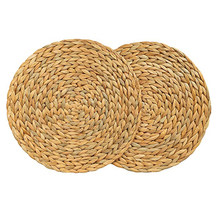 Natuurlijke Tafel Mat Handgemaakte Waterhyacint Geweven Placemat Ronde Gevlochten Mat Hittebestendige Hot Isolatie Anti-Slippen Pad