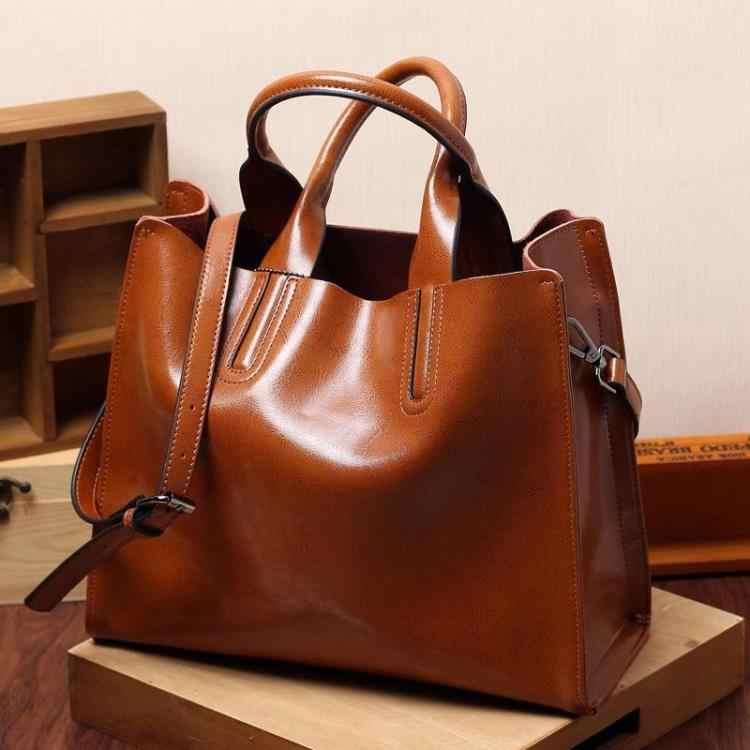 Vintage en cuir véritable sacs femmes sacs de messager de haute qualité huile cire femme en cuir sacs à main dames sac à bandoulière 2019 nouveau C836