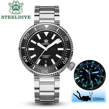 STEELDIVE 1000M Diver שעון גברים NH35 ספיר קריסטל אוטומטי שעון אין לוגו נירוסטה שעון מכאני C3 BGW9 זוהר