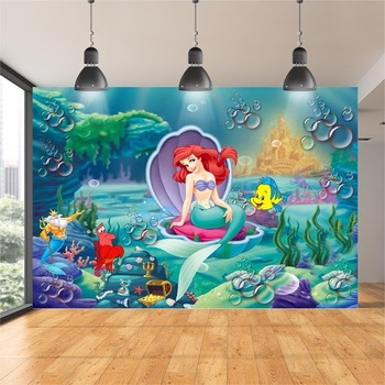 Photography Backdrops Bubbles Under Sea Ariel Princess Little Mermaid Rocks Corals Custom Photo Studio Backdrop Background Vinyl