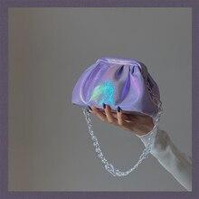 Holographic cloud shoulder bag for women chain folds elegant clutch purse girl evening party luxury mini messenger bags handbag