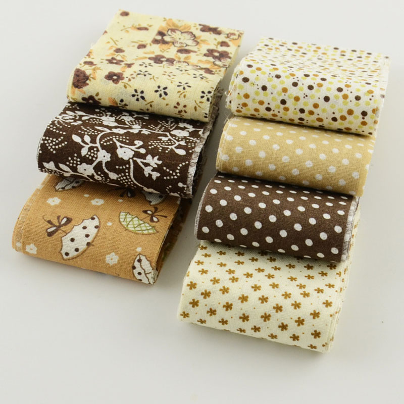 Telas De Algodon Para Patchwork Coffee Color Theme 5cmx100cm 100% Cotton Fabric Strips 7pcs/lot Jelly Roll For Crafts Sewing