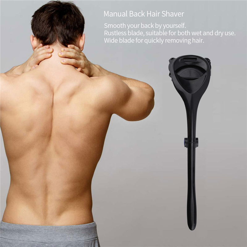 Foldable Back Hair Shaver Do Yourself Body Hair Removal Double Blades Trimmer For Men's Back Hair Shaving Long Handle Machine 45
