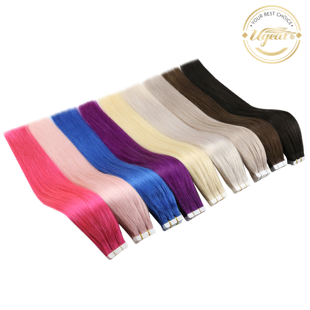 [12 Colors] Ugeat Tape in Hair Extensions Double Sided Adhesive Tape in Hair Extensions 50g/20pcs 100% Human Hair Tape Ins
