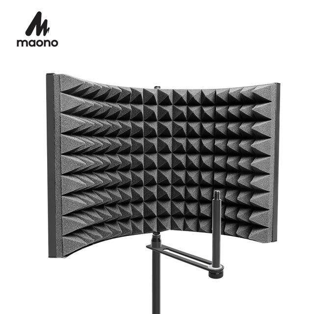 MAONO stüdyo mikrofonu İzolasyon kalkanı katlanabilir yüksek yoğunluklu emici köpük ön Panel ses emici vokal kayıt
