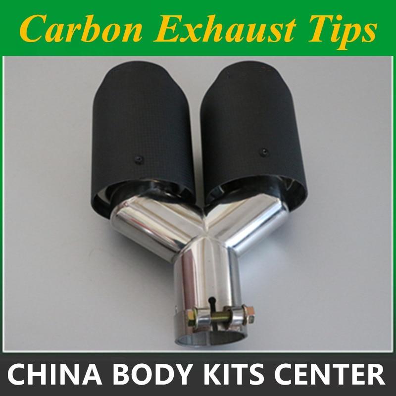 1 брой Y Модел Ak rapovic Въглеродни изпускателни тръби Двойни крайни съвети за BMW BENZ AUDI VW Изпускателни тръби с двойно гърне
