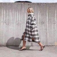 Women Isabel Etoile Gabrion Blanket Jacket CloakPlaid Gabrion Blanket Coat Cloak Khaki Grey Check Gabriel Coat