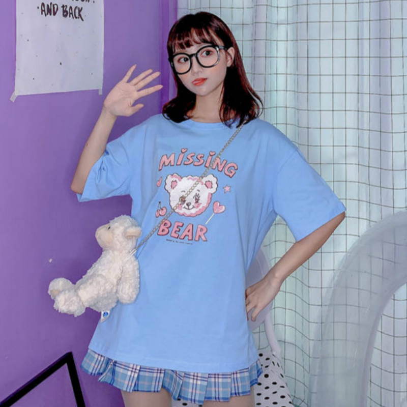 Korean Sweet Style Cartoon Printed T-shirt Schoolgirl Summer New Tops 2020 Ulzzang Harajuku Kawaii Blue Loose Tee Shirt Women
