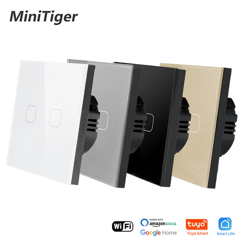 Minitiger Crystal Tempered Glass EU Standard 2 Gang Tuya/Smart Life WiFi Wall Light Touch Switch Wireless Control Touch Switch 1