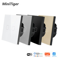 Minitiger Crystal Tempered Glass EU Standard 2 Gang Tuya/Smart Life WiFi Wall Light Touch Switch Wireless Control Touch Switch