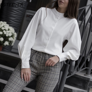 Vintage Lantern Sleeve Autumn Winter Thicken Women Shirt Blouses Single Breasted Blouse Female Loose Shirts Tops blusas mujer 1