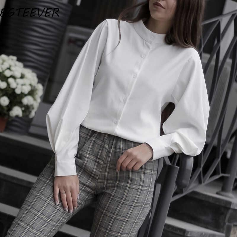 Vintage linterna manga Otoño Invierno Thicken mujer camisa blusas blusa de un solo pecho mujer Camisas sueltas Tops blusas mujer