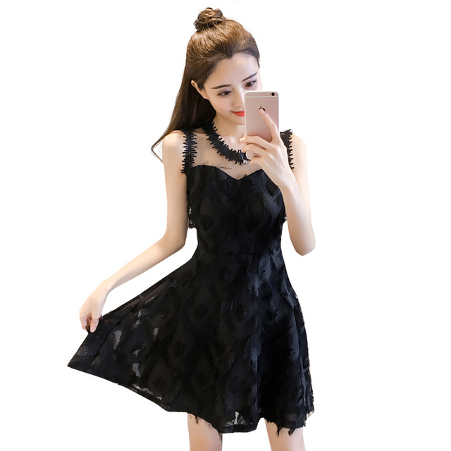 New Fashion Ladies Feather Tassel Embroidered Lace Vest Dress Fashion Sexy Temperament Girl Party Casual Beach Dress 5