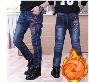 Image 1 - 2020 winter childrens clothes boys jeans casual slim thicken fleece denim baby boy jeans for boys big kids jean long trousers