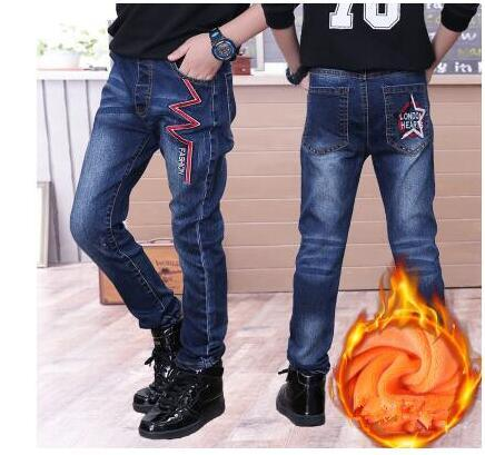 2020 winter childrens clothes boys jeans casual slim thicken fleece denim baby boy jeans for boys big kids jean long trousers