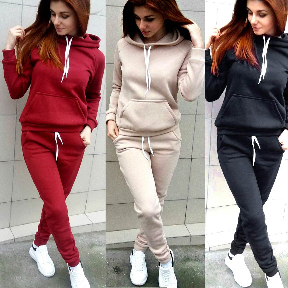 New Autumn Winter Women 2 Piece Set Thick Long Sleeve Drawstring Solid Color Sportswear Ladies Girls Casual Tops + Pants