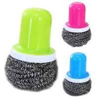 3 Colors Novelty Colorful Steel Wire Ball Cleaning Brush With Handle Kitchen Cleaner For Washing Pot Dish Pan Bowl Utility Tools