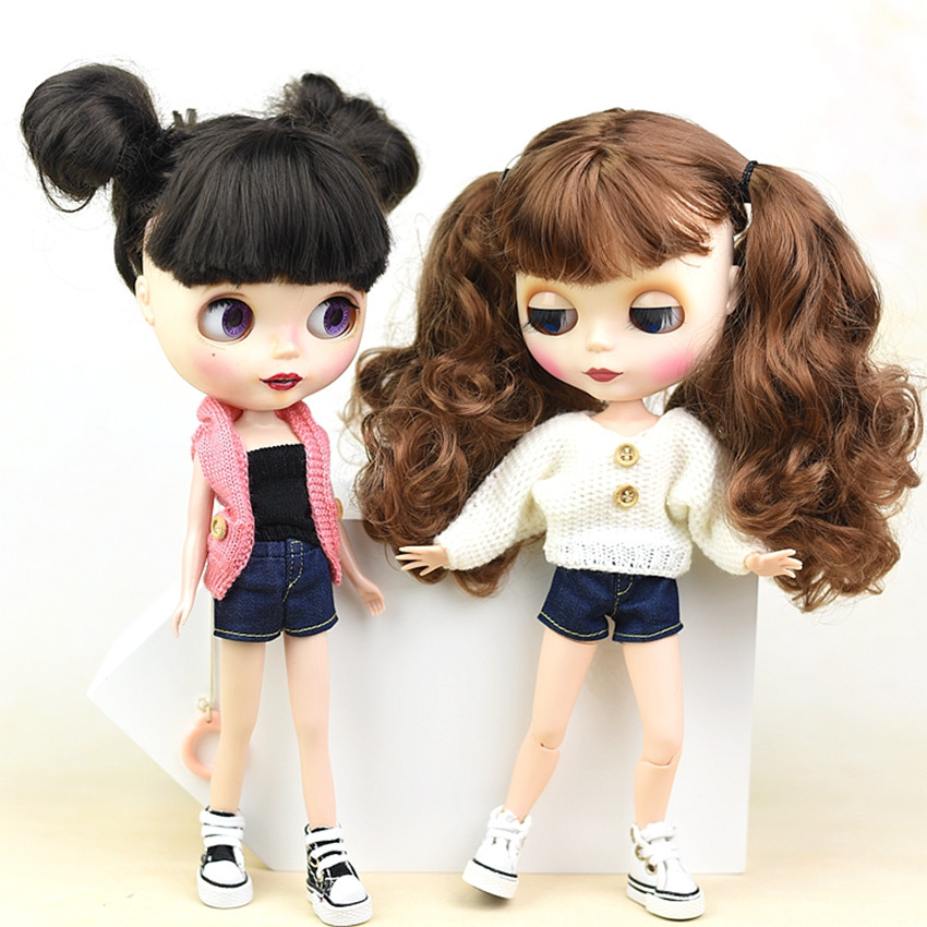 Elastic Jeans Bottoms Trousers Long Pants For Blyth Doll Clothes Fashion Outfit Shorts For Blyth 1/6 BJD Dolls Accessories