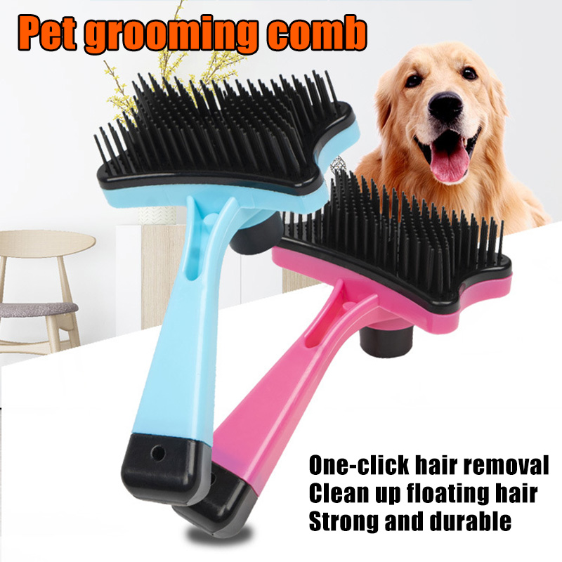 Plastic Push Brush for Cat and Dogs Pet Groom Bath Brush Hair Removal Brush Hogard