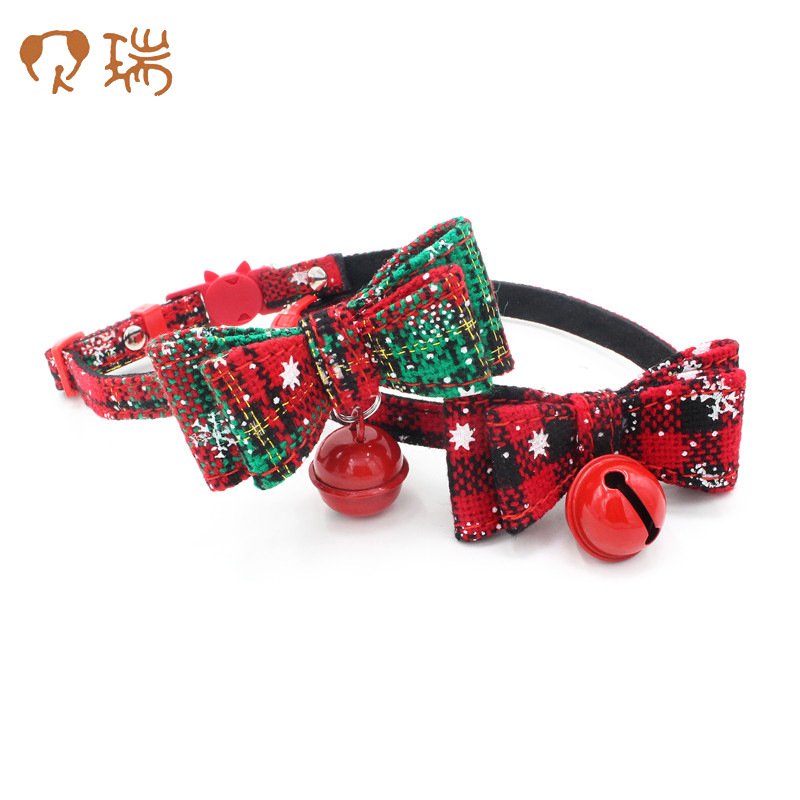 Christmas Pet Collar Fabric Bow Dog Neck Ring Berry Pet Supplies New Style Dog Chain