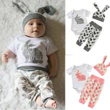 3 pçs minha primeira páscoa da criança do bebê recém-nascido da menina menino roupas de páscoa conjunto manga curta coelho topos + impressão calças chapéu roupas de verão conjunto