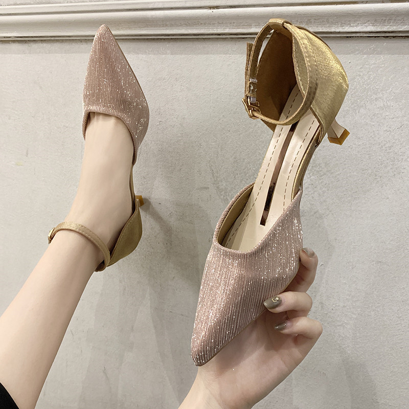 Buckle 2020 Sandals High Heels All-Match Comfort Shoes For Women Suit Female Beige shoes Women's Heeled Stiletto Comfort Block(China)