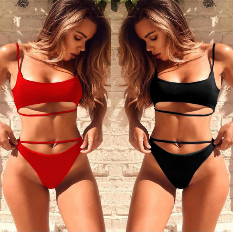 Sexy Bikini Set Women Solid Bandage Bikinis Hollow Swimwear Summer High Cut Swimsuit Tube Top Bathing Suit Female Beachwear