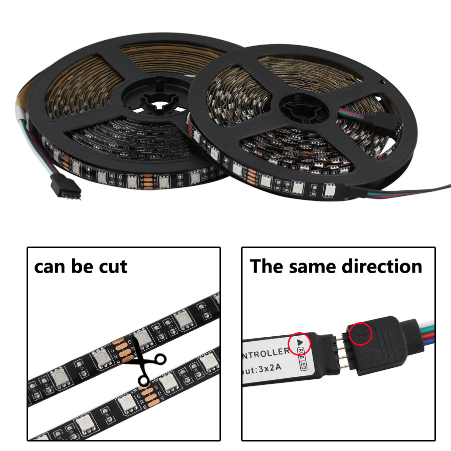 DC 5 V Led Light Strip RGB PC SMD 5050 Black PCB 50cm - 5M Ambilight TV Backlight Waterproof 5V Led RGB Strip Light Tape Lamp