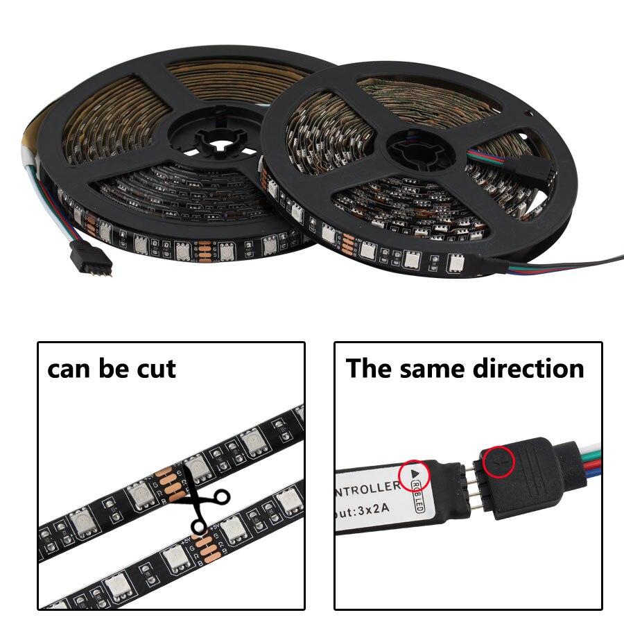 DC 5V Led Light Strip RGB PC SMD 5050 Black PCB 50cm - 5M Ambilight TV Backlight Waterproof 5V Led RGB Strip Neon Tape Lamp
