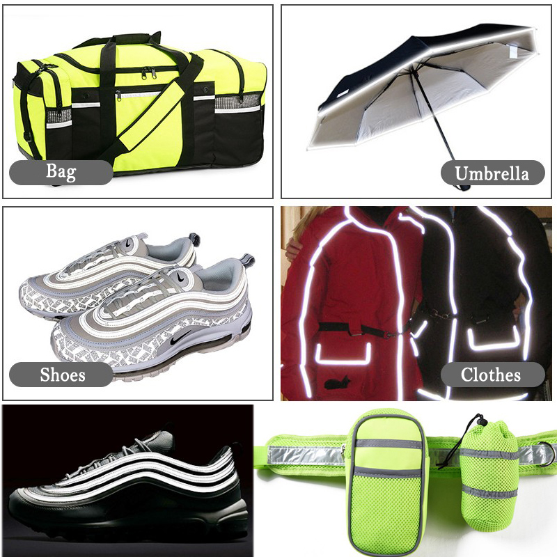 Купить с кэшбэком EN471 Bright silver Reflective Edge Strip Clothing Bag Warning Tipping Reflector Rope