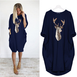 Plus Size Pocket Christmas Dress Womens O Neck Autumn Winter Female Leisure Comfortable Dresses Prom Reindeer Elk Xmas Party 1