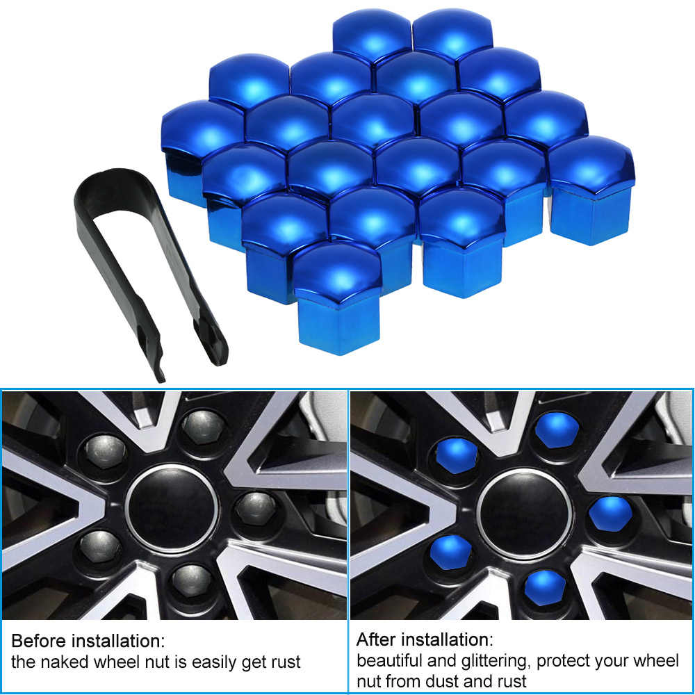KIMISS Wheel Nut Rim Cover Black 20pcs 21mm Nut Car Wheel Auto Hub Screw Protection Anti-theft Cover Cap