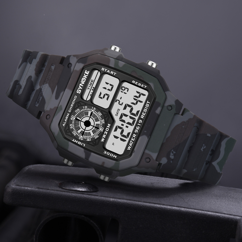SYNOKE Мужчины Часы Военный Квадратный Циферблат Спорт Часы Жизнь Водонепроницаемый Мужчины Наручные часы Топ Бренд LED Цифровой Часы Браслет 2020