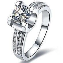 Тест положительное настоящее кольцо 14 карат Твердые ювелирные изделия из белого золота 1Ct Moissanite искусственный бриллиант кольцо Свадебные украшения для женщин невесты