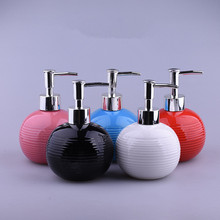 300ml Ball shape ceramic Liquid Soap Dispensers pump shower shampoo bottle hand sanitizer container Bathroom Accessories