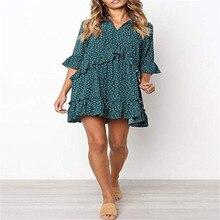 Women's V Neck Ruffle Polka Dot Pocket Loose Swing Casual Short T-Shirt Dress ruffle trim polka dot cami dress