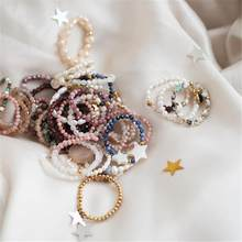 Boêmio feito à mão anéis de pedra natural mulher com grânulo de aço inoxidável multi cor estiramento corda casamento anel de promessa ajustável