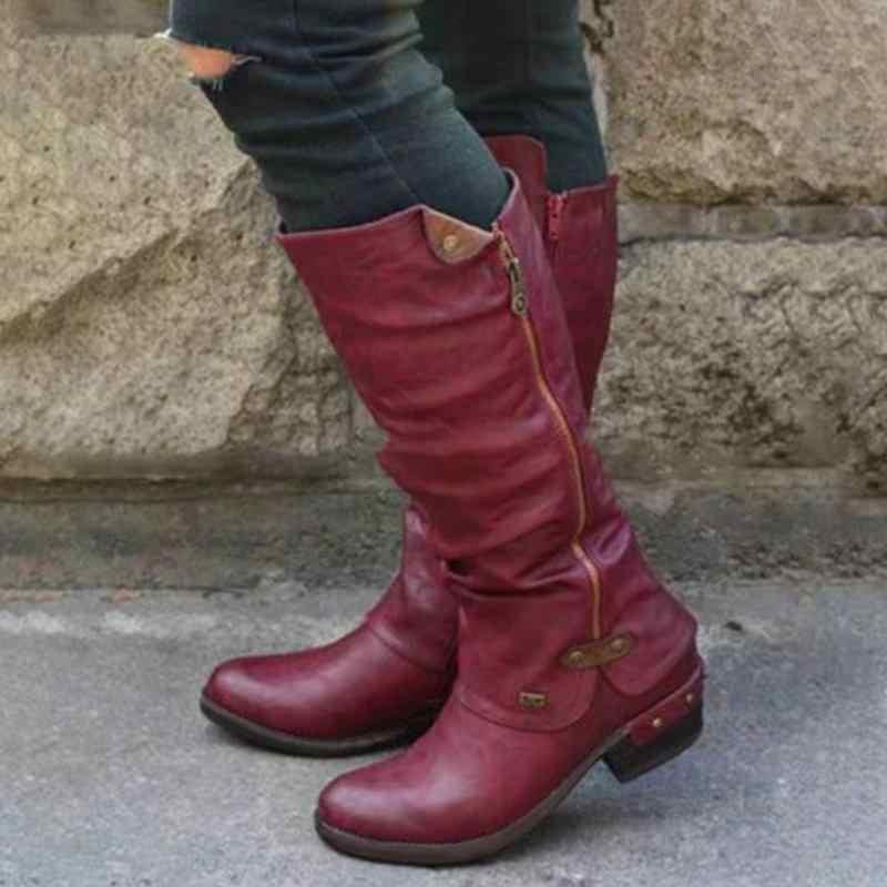 Moda kış sonbahar ayakkabı kadın diz yüksek çizmeler toka ile düz topuk çizmeler kadın motosiklet sivri burun deri çizmeler